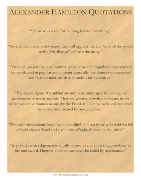 Alexander Hamilton Quotations Founding Document