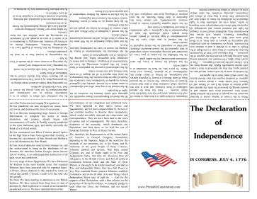 Declaration Of Independence Foldable Booklet Founding Document
