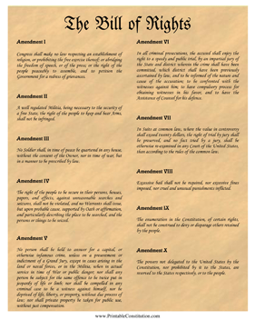 Bill Of Rights Parchment Founding Document