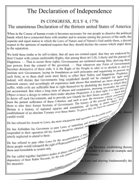Declaration Of Independence — Large Print Founding Document