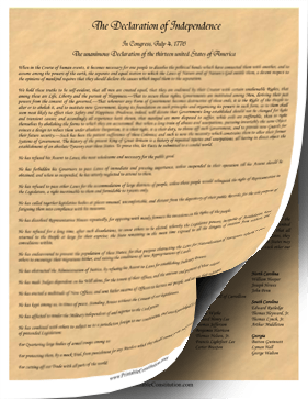 Declaration Of Independence Parchment Founding Document